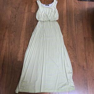 Apt. 9 Gray/Taupe Neon Yellow Maxi Dress Size XS